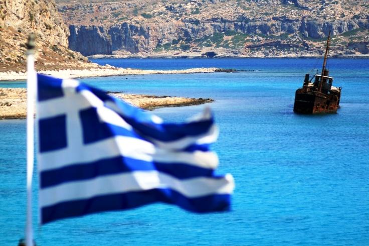 Greek Flag in Gramvousa Crete