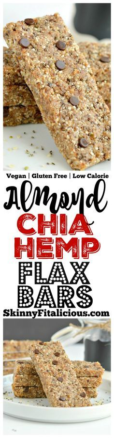 Almond Chia Hemp Flax Bars are no bake superfood granola bars made with oats, dates, almonds, chia, hemp, flax, a touch of chocolate & no added sugar. A naturally sweet and salty snack bar no one can resist! Gluten Free + Low Calorie + Vegan