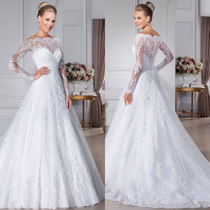 Online Shop White long sleeve lace wedding dresses 2016 vintage a-line bridal dress wedding gown vestido de noiva manga longa |Aliexpress Mobile