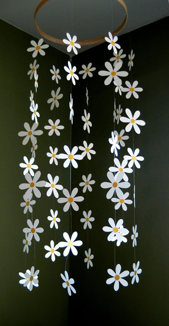 This darling, daisy mobile is strung with 56 white, card-stock daisy with yellow-gold centers.  Flowers hang delicately and move beautifully in a light breeze.  Total length from ring is approx. 30 and total width is about 16.  Mobile hangs easily from the ceiling from a small adhesive hook, which is included.  Other paper colors are available - just convo me.