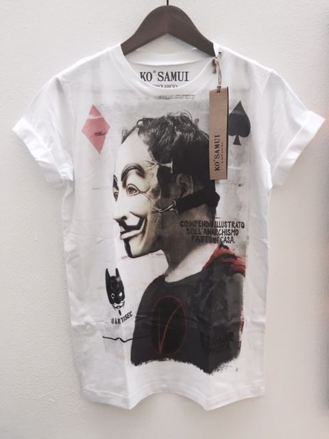 t-shirt per uomo bianca con stampa v per vendetta Jamaica Shoes & More www.reebes.land