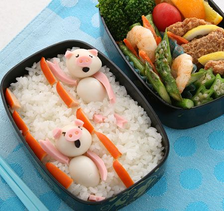 Pigs swimming in rice! Adorable
