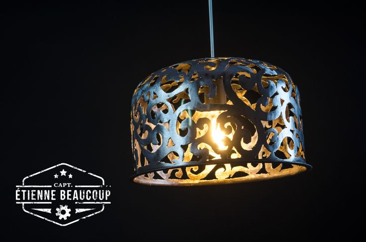 #L015 - VICTORIAN PENDANT VESSEL || . A second Steampunk pendant light out of an old pressure vessel with the same victorian motif. #steampunk #lampshade #metalart #artnouveau #victorian #steampunkart #steampunkinterior #dieselpunk #industriallight #industriallightingdisigns #artdeco #lamp #industrial #industriallighting #industrialliving #industrieelwonen #stoerwonen #vessel #pressurevessel #plumbing #tank #plasmacutting #livingwithart