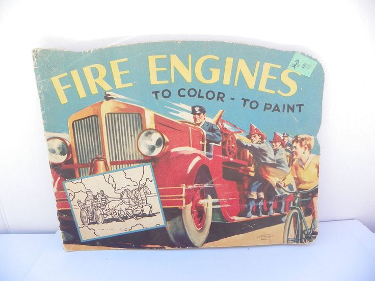 Extremely Rare 1943 - Fire Engines To Color To Paint , Vintage Samuel Lowe Coloring Book , Fire Engine , Firetruck , Fire Truck , Colouring by ShersBears on Etsy