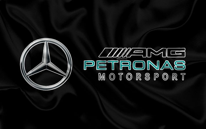 Download wallpapers Mercedes-AMG Petronas Motorsport, 4k, F1, silk flag, racing team, Formula 1, Mercedes, racing