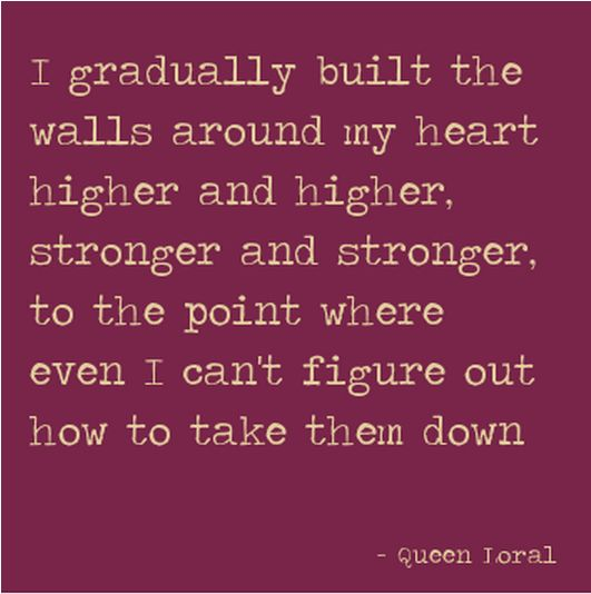 I gradually built the walls around my heart higher and higher, stronger and stronger, to the point where even I can't figure out how to take them down- Queen Loral