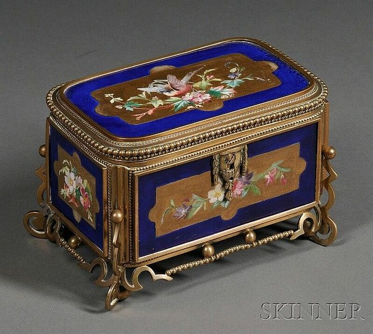 Old Paris Porcelain and Bronze Box, 19th century, the body w