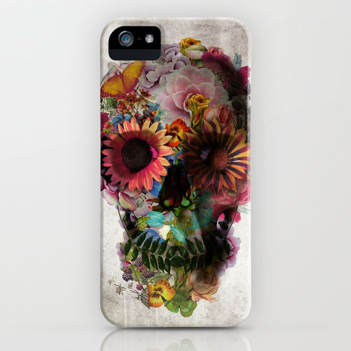 """And death became beautiful. Pick up this stunning """"SKULL 2"""" iPhone case by Ali GULEC, available for several iPhone generations and Samsung Galaxy at Society6."""