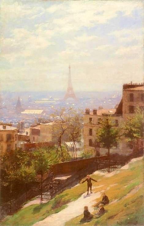 A view of the Eiffel Tower, view of Paris by Ludwik de Laveaux (Polish 1868-1894)