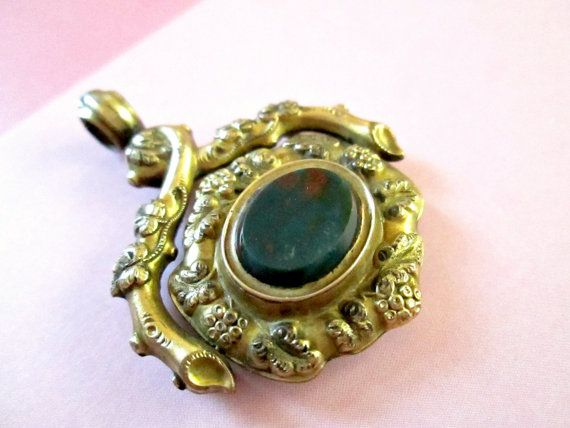 Antique 19th Century Mourning Locket Pendant Gold Filled Ornate Design Bloodstone aka Heliotrope a type of Chalcedony Spinner Pendant