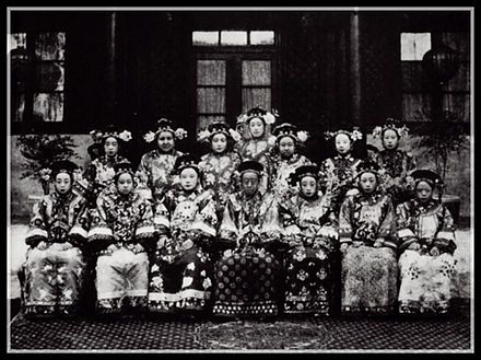 Empress Dowager Cixi -    Photograph of Princess Rongshou (center seated), daughter of Prince Gong. As a way to show gratitude to the Prince, Cixi adopted his daughter, and elevated her to the rank of Kurun Princess (the highest rank for imperial princesses). The Princess remained a lifelong friend of Cixi, and earned Cixi's respect and reverence for her forthrightness and sincerity. She became one of the few people whose remarks were taken seriously into account by Cixi.