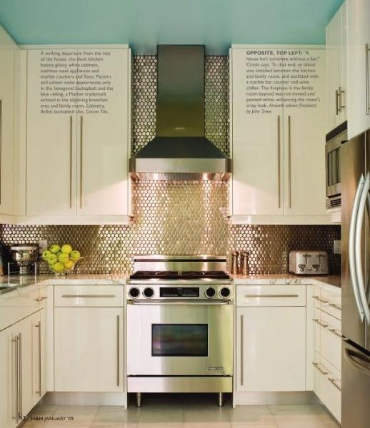 Stainless Steel Penny Tile Backsplash And Stove Surround