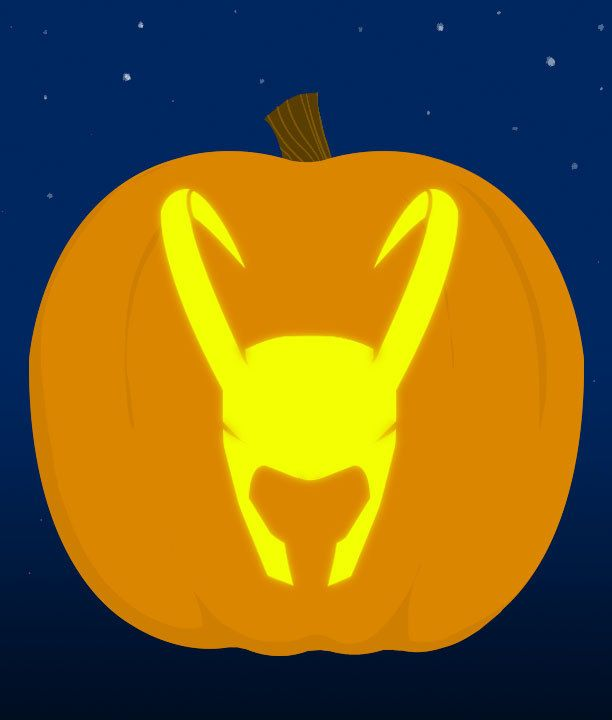 13. Loki Helmet - submitted by Nicole Hazen | 18 Insanely Clever Pop Culture Stencils To Up Your Pumpkin Carving Game