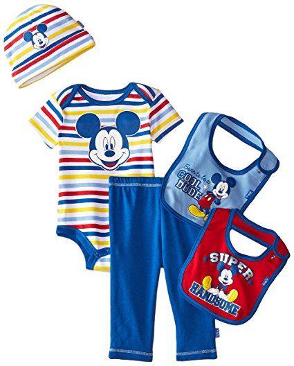 5a871879df83 Amazon.com  Disney Baby Boys  Mickey Mouse 5 Piece Layette Box Set ...
