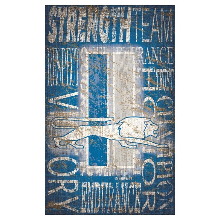 """NFL Detroit Lions Heritage Word Collage 11"""" x 19"""" Sign"""