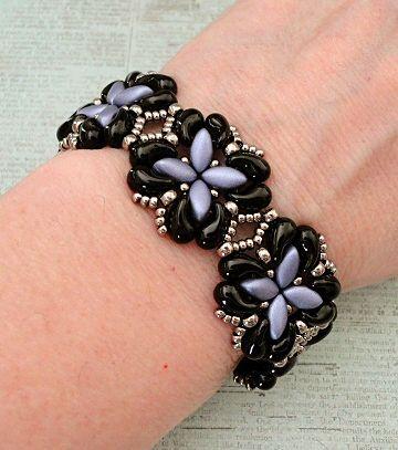 "FOR YOUR EYES ONLY 11/0 seed beads Miyuki ""Nickel Plated"" (190) 8/0 seed beads Miyuki ""Nickel Plated"" (190) ZoliDuo beads ""Jet"" IrisDuo beads ""Metallic Violet"" The metallic seed bead color that goes"