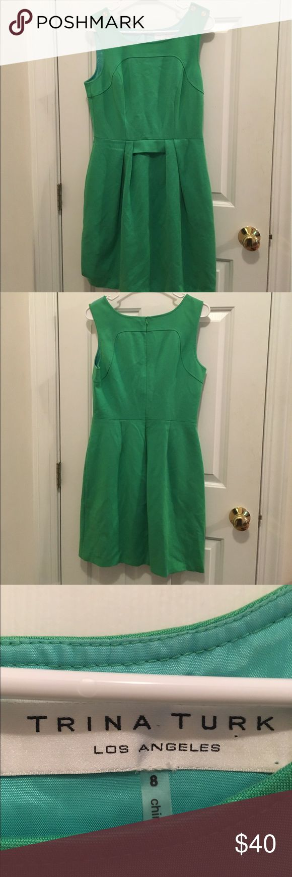 """Size 8 Trina Turk Dress Beautiful size 8 Trina Turk dress, lovely shade of green with golden button accents on the shoulders and a lace trim on the lining that is meant to peek out from the bottom, no flaws or stains, measurements are 36"""" from shoulder to hem, 17"""" bustline and 14&1/2"""" waist. Excellent condition and gently used. Trina Turk Dresses"""