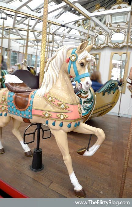 San Francisco's Beautiful Looff Carousel Horses - a dainty standing palomino