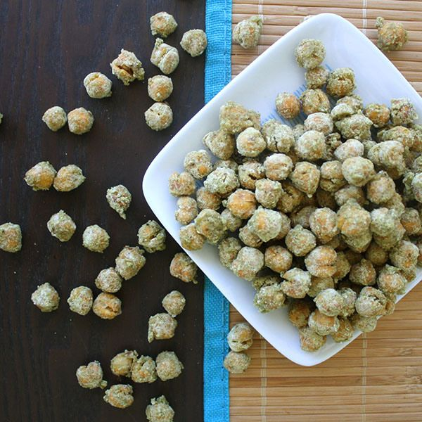 Wasabi Roasted Chickpeas are a spicy snack to have with you!