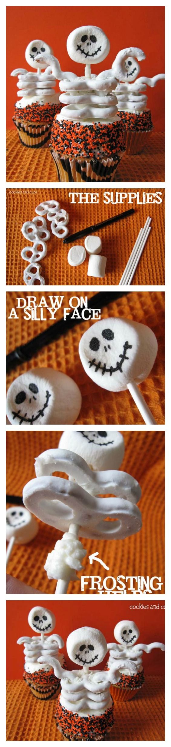 Easy Skeleton Cupcakes for Halloween! Okay, so they're not technically cookies, but how cute are these?