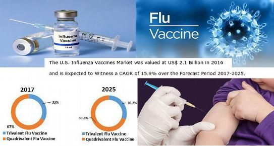The U.S. influenza vaccines market was valued at US$ 2.1 billion in 2016 and is expected to witness a CAGR of 15.9% over the forecast period (2017–2025).