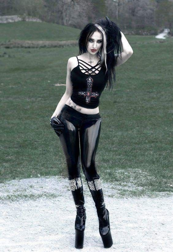 Goth girl in black Latex Trousers #womensGothicjacket ...