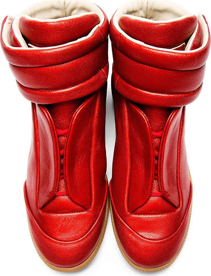 Maison Martin Margiela: Red Future High-Top Sneakers don't forget to coat to waterproof them.@ Ceracoatus.com/freedom