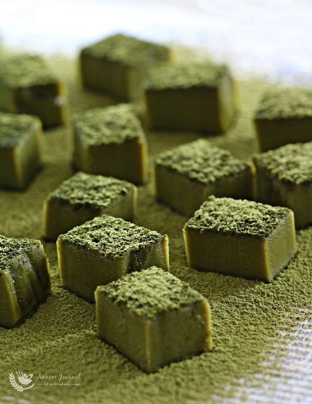 This delicate petite, green dessert that looks like Royce Matcha Chocolates has a unique bitter sweet taste, and matcha fragrance. It is actually baked matcha brownies with white chocolate, that is not cakey because very little flour is added, and it just melts in your mouth. It can be quickly whipped up before popping …