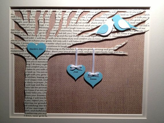 Unique Anniversary Gift, Wedding Gift, Bride Gift, Valentine's Day Gift - Love Song 3D Paper Lyric Tree - Customized and FRAMED on Etsy, $58.50