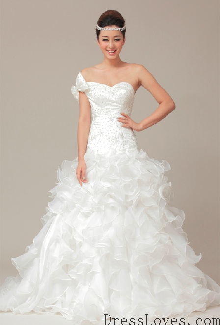 One Shoulder A-Line Gown Sweetheart Neckline With Ruffled Organza Skirt And Beaded Bodices Style YSP170