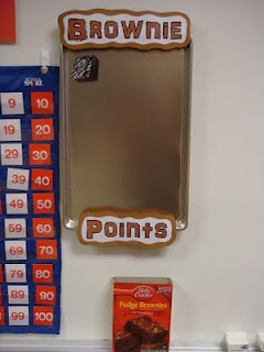 Brownie Points is our class reward system. When the class gets a compliment from someone other than myself for good behavior they will earn a brownie for their pan. When the pan gets full of brownies the class gets a special treat.