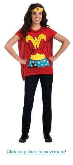DC Comics Wonder Woman T-Shirt With Cape And Headband #DC #Comics #Wonder #Woman #T_Shirt #Cape #Headband