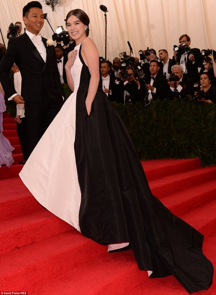 His muse: The 17-year-old True Grit star was dressed by Prabal Gurung and posed happily wi...
