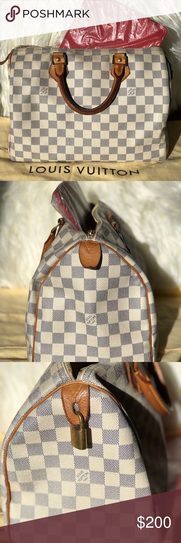 Authentic Louis Vuitton Speedy 30 Damier Azur Heavy used but in good condition. Comes with a bottom insert shaper and the protective bag. I've had it for a long time as you can tell from the aging of the handles. Louis Vuitton Bags Mini Bags