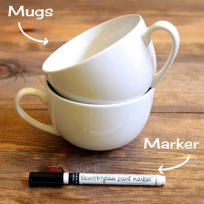 Dollar store mugs and Marker.  Create specialized gifts.