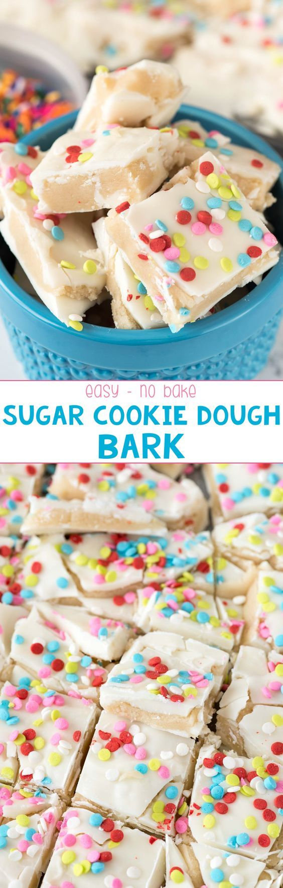 Sugar Cookie Dough Bark - this easy, no-bake, eggless sugar cookie dough is sandwiched between layers of white chocolate to create a candy bark! Everyone LOVES this candy!