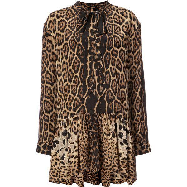 Saint Laurent lavaliere mini dress (€3.435) ❤ liked on Polyvore featuring dresses, brown, mini dress, long sleeve silk dress, short silk dress, drop waist dress and silk mini dress