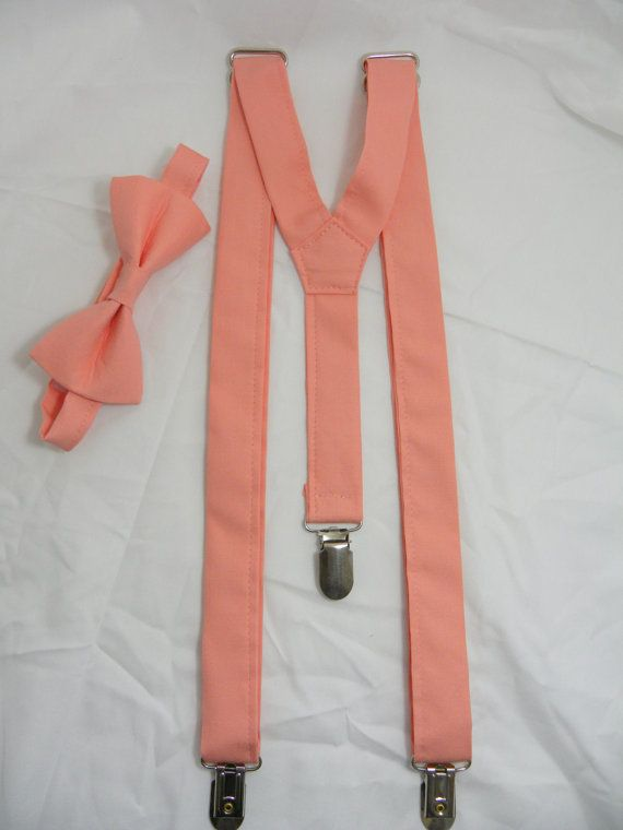 On Sale: Peach Suspenders and Bow Tie Set. Sizes by JHPCouture