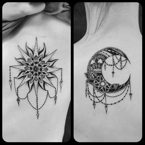 Sun & moon sister tattoos