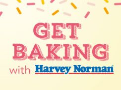 """Enter the """"Get Baking with Harvey Norman"""" Facebook competition by sharing a picture of your most inspired baking moment and go into the running for a chance to win some amazing prizes:"""