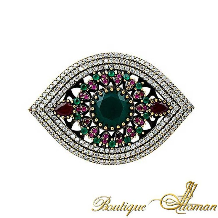Emerald Ruby Elegance Brooch - Ottoman Silver Jewelry #brooch #brooches #silverbrooches #jewelry #clothesjewelry
