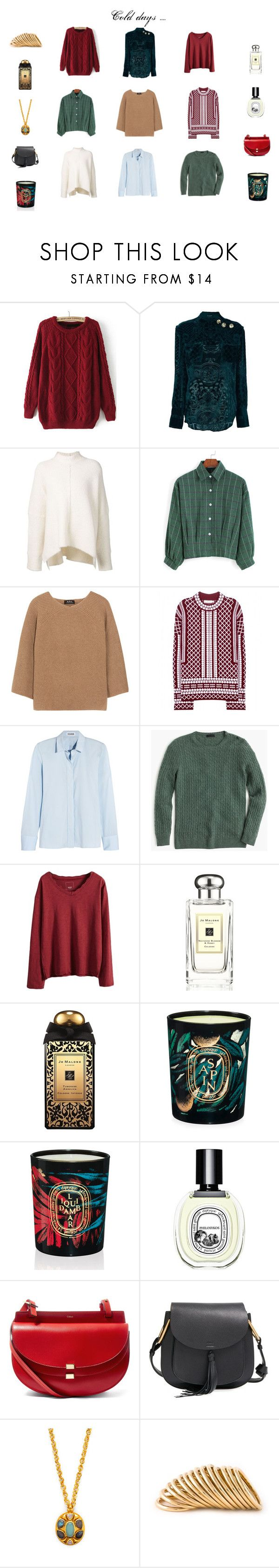 """""""Cold days"""" by mousouza on Polyvore featuring Balmain, URBAN ZEN, A.P.C., Tory Burch, Jil Sander, J.Crew, Jo Malone, Diptyque, Chloé and Shaun Leane"""