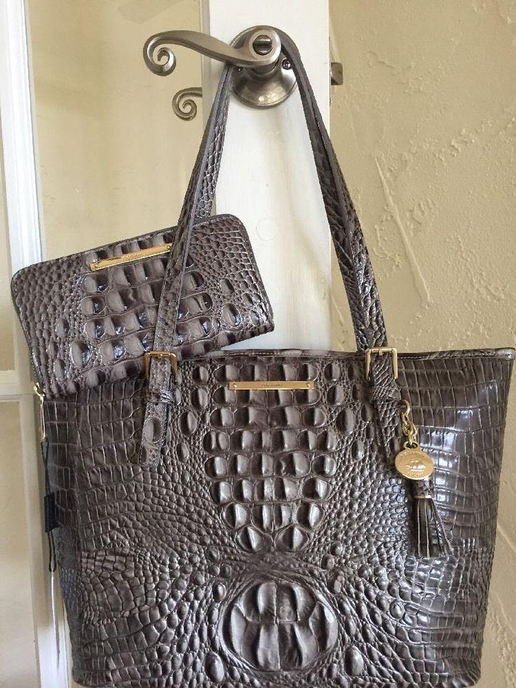 Brahmin Medium Asher Tote Falcon Melbourne Leather & Suri Wallet SET  | eBay