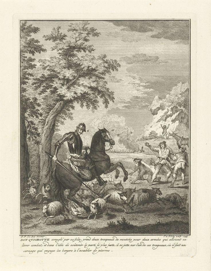 Jacob van der Schley | Don Quichot steekt op een kudde schapen in, Jacob van der Schley, 1745 | Don Quichot ziet een kudde schapen voor een leger aan. Met zijn lans steekt hij op de kudde vluchtende schapen in. De herders proberen Don Quichot met stenen te raken. Op de achtergrond staat Sancho naast zijn ezel.