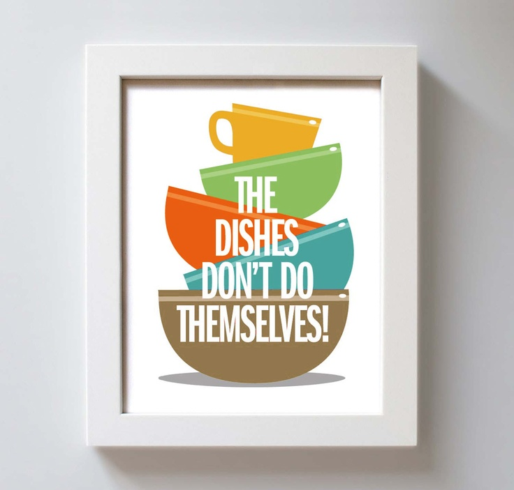 Kitchen art wall print kitchen gift washing dishes for Colorful kitchen wall art