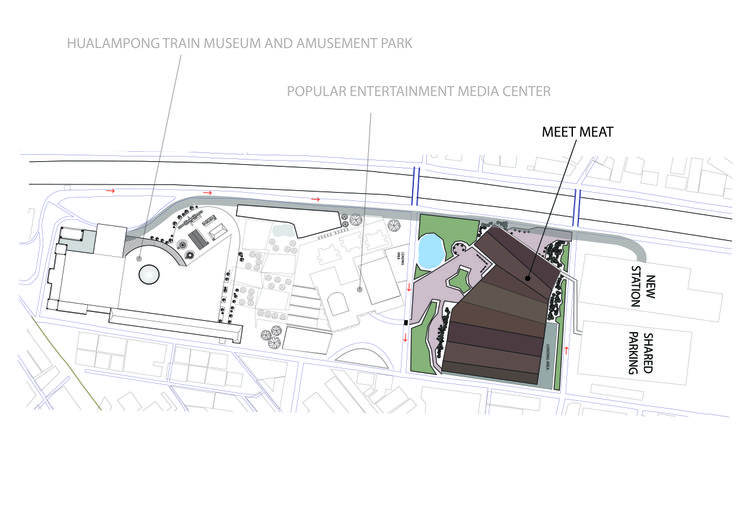 Patmala Boondej 5434777425 (aj.Pan) Meet Meat Master Plan. The master plan shows three different programs which are museum and amusement park, entertainment center and a combined programs: meat auction house, a meat processing plant and a market hall.