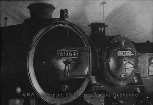 """61264 and 76084"" Drawing  -  A4 print £20 -  LNER Thompson Class B1 61264 Built in 1947 side by side with 76084 BR standard 4MT Steam Locomotive designed by Robert Riddles and built in 1957.  Please note that you are buying a Limited Edition print of my drawing, not the original  Prints will be signed, numbered and professionally mounted."