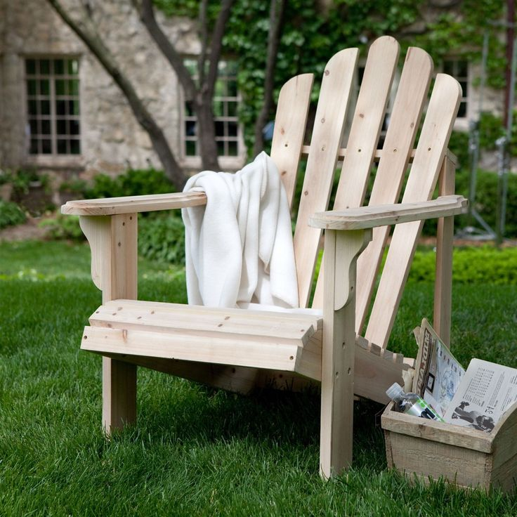 Natural Asian Fir Unfinished Wood Adirondack Chair with Contoured Seat and Wide Armrests