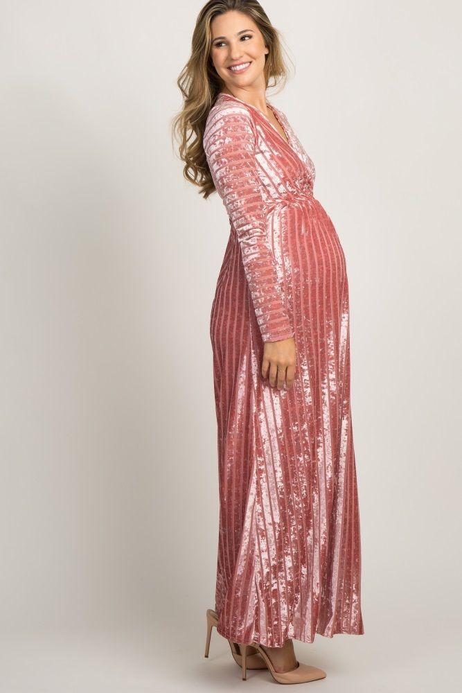 d913e0ca5af Pink Striped Velvet Maternity Maxi Dress