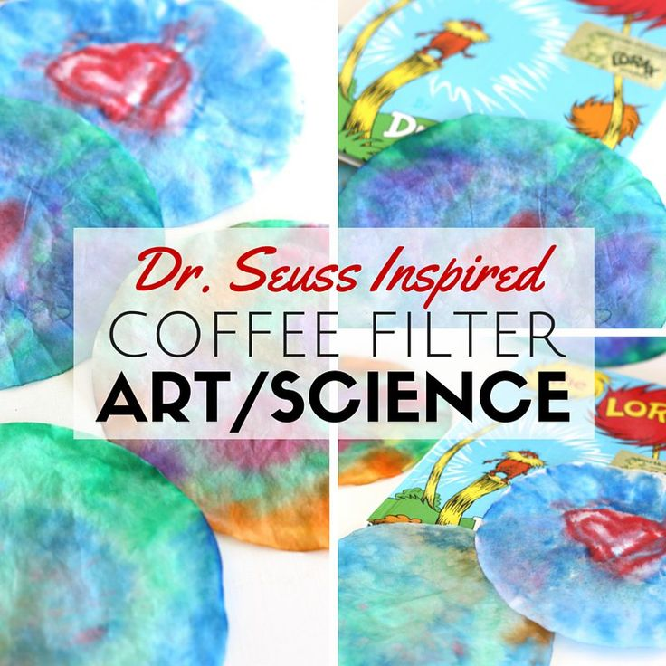 Fun coffee filter art activity inspired by Dr. Seuss' The Lorax. Make tie dyed coffee filter art with a few simple household items! Process art for kids.